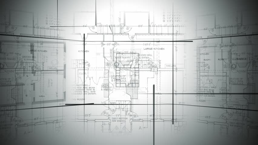 Architectural plans fill the screen for a suitable loopable background for your renovation, design and decor show.