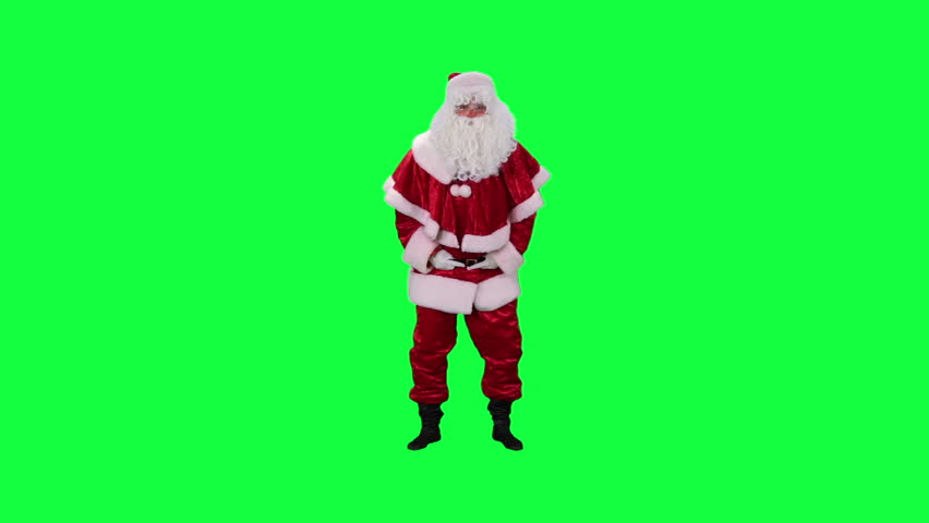 Laughing Santa Claus chroma key (green screen). Santa fun laughing isolated on green