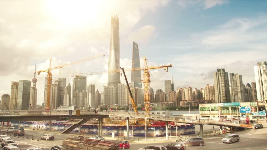 Shanghai Skyscrapers. Construction.TimeLapse   Shutterstock HD Video #12035882