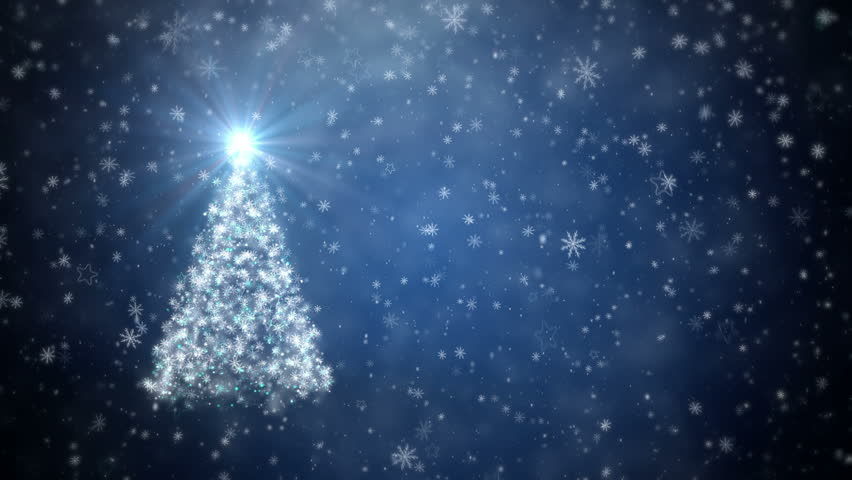 Growing New Year tree with falling snowflakes and stars 4K - 4K stock footage clip