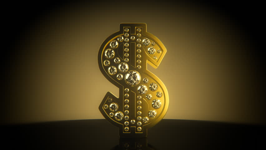 Turning golden dollar sign with diamonds - seamless loop - HD stock video clip