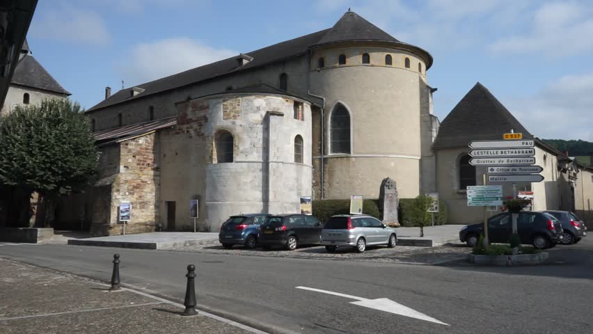 SAINT-PE-DE-BIGORRE, FRANCE - CIRCA JULY 2015 Cathedral on the main square | Shutterstock HD Video #12140993