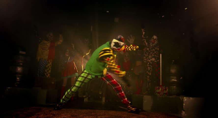 A group of clowns. Two clown acrobat dance break dance. Halloween party. | Shutterstock HD Video #12148706