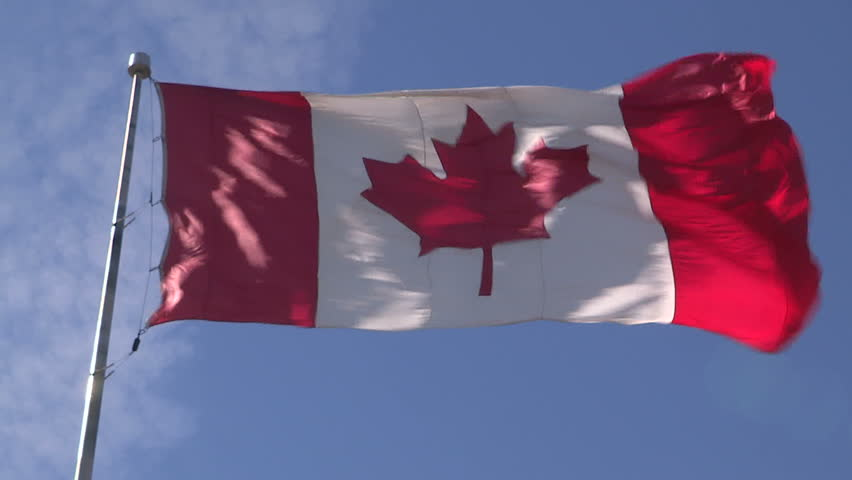 Canadian Flag Flying In The Breeze Stock Footage Video ...