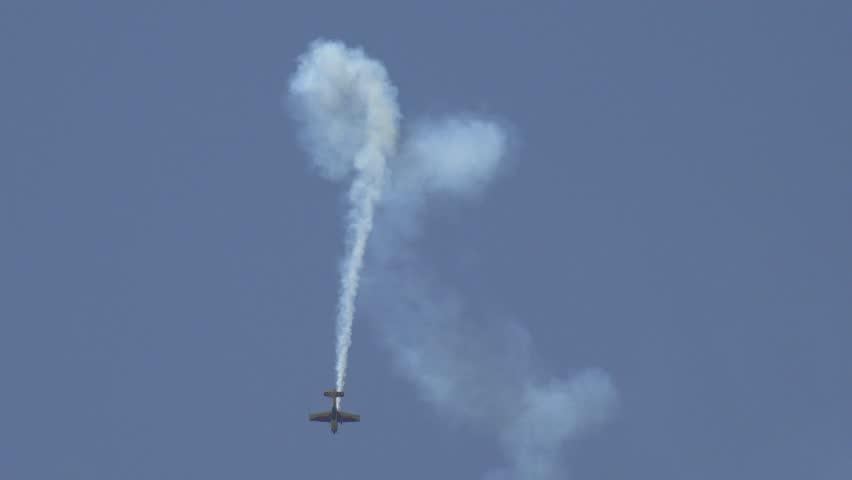 ROMANIA, BUCHAREST, OCTOBER  8, 2015, 4K Airshow Aerobatic Sport Plane Aircraft Acrobatics Parade Glider Flying Flight