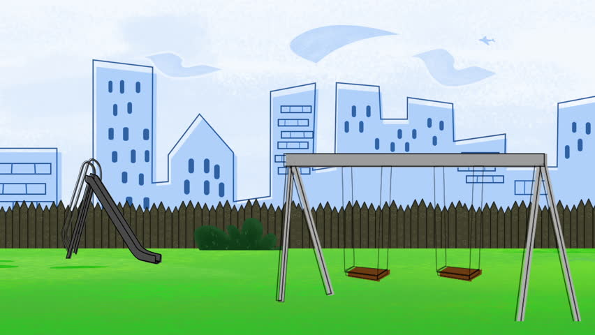 animated cartoon of a swing set in a park playground near