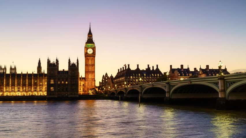 Sunset to night time lapse of the Houses of Parliament and Big Ben clock tower with Westminster Bridge and River Thames, London, UK | Shutterstock HD Video #12247517