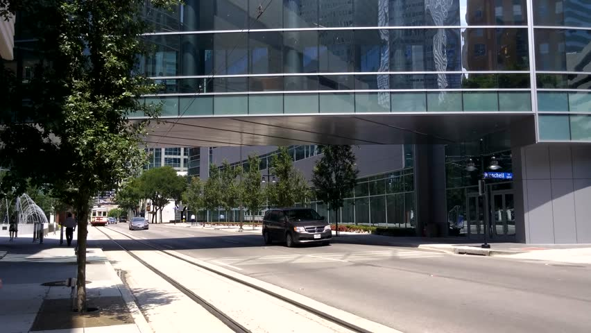 Dallas, Texas - Exterior shot of McKinney Avenue Trolley arriving at a stop.