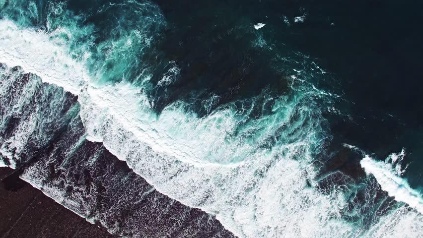 High waves in ocean. Giant Blue Ocean Waves in Indonesia, Bali. Aerial view.