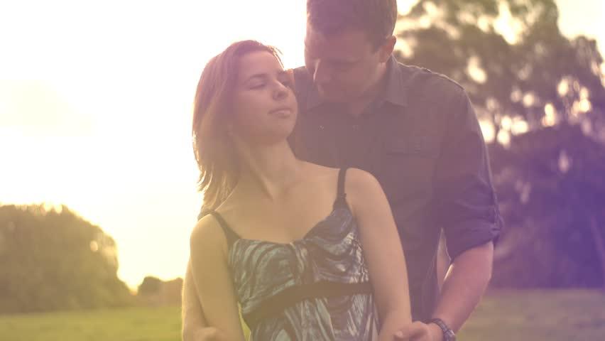 romantic young couple in love having fun outdoors enjoying