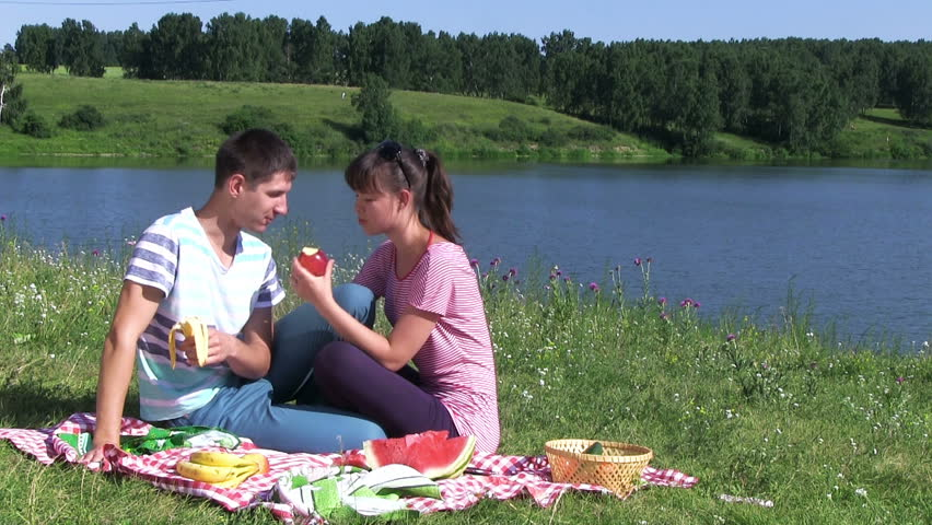 Couple At Romantic Picnic In Autumn Park Stock Footage ...