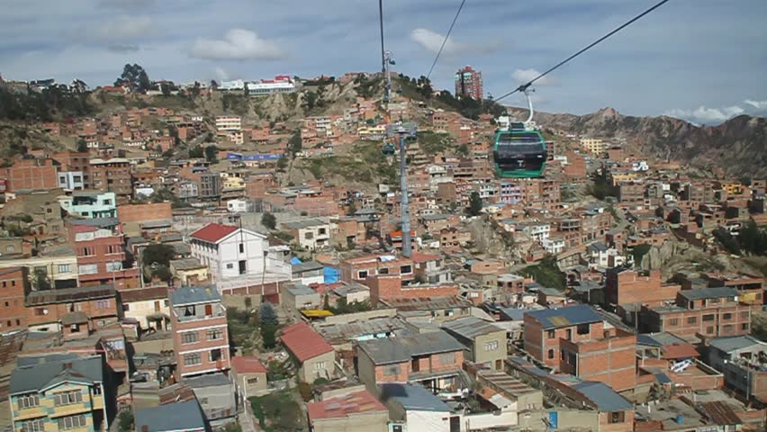 Houses of La Paz with Teleferico (Cable car), Bolivia