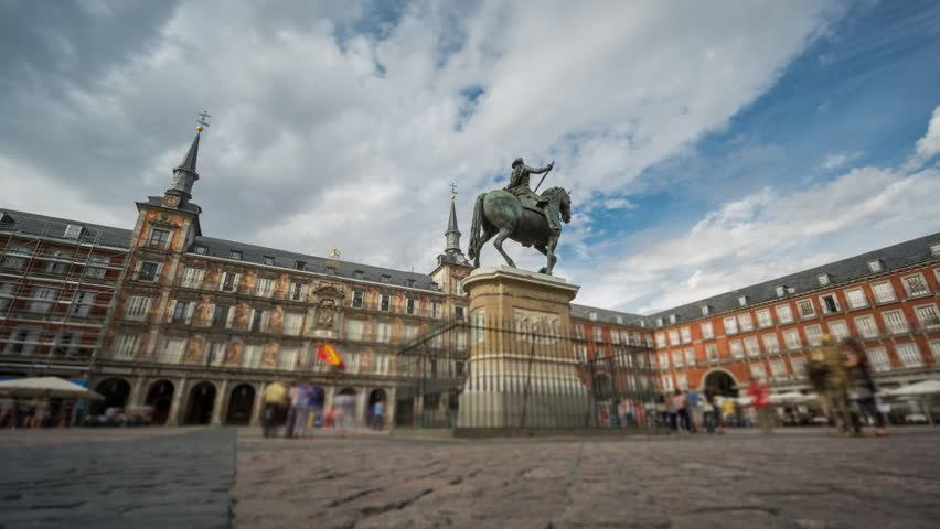 Wide angle time-lapse of Plaza Mayor in Madrid , Spain. 4k Time Lapse with blurred people. Loopable