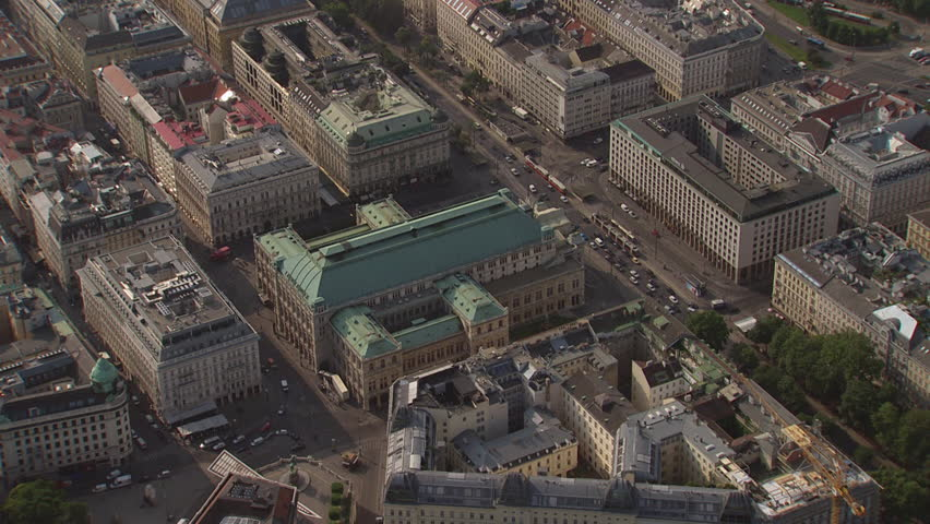 AERIAL WS ZO View of Staatsoper and cityscape / City of Vienna, Vienna, Austria - 06/16/2015 | Shutterstock HD Video #12348083