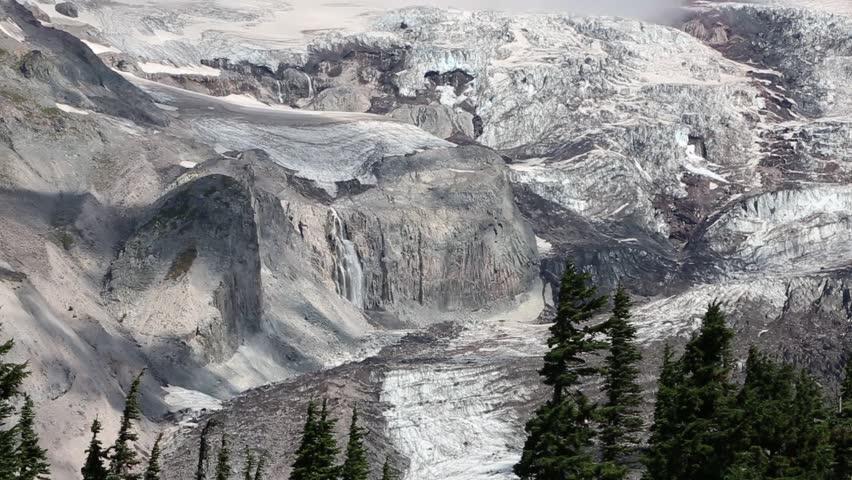 Glaciers and waterfalls - Mount Rainier National Park, Washington - HD stock footage clip