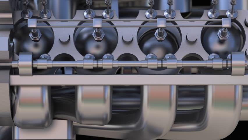 Close up Metal V8 chromium engine 3D ( 4k, 30fps, loop, 3d render)