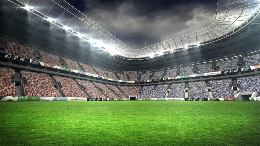 Digital animation of lights flashing in large football stadium stock footage video 6563771 - Soccer stadium hd ...