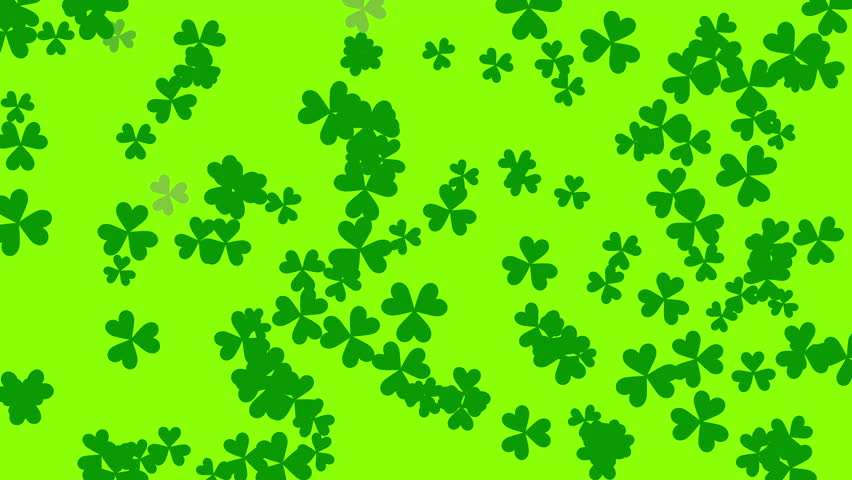 St. Patrick's animated clovers against a bright green background. For use as a general backdrop, design element or as an overlay for placement of text or other copy. | Shutterstock HD Video #12460853