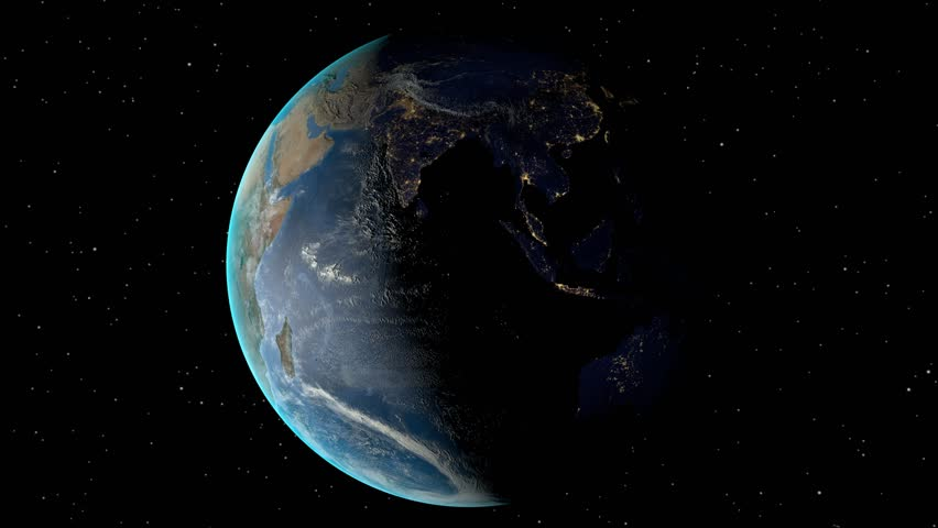 Night to day - rotating Earth. Zoom in on Zimbabwe outlined. Satellite high resolution (86400 px) raster used. Elements of this image furnished by NASA. - 4K stock video clip