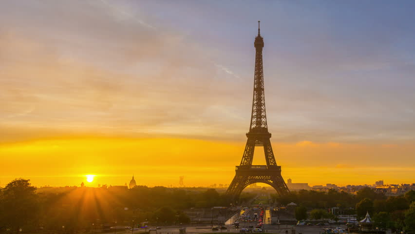 4K timelapse of Paris at sunrise with the Eiffel Tower at the Trocadero gardens. Zoom out pan. | Shutterstock HD Video #12515060