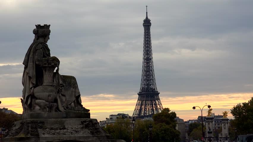 The Eiffel Tower in Paris. France. Shot in 4K (ultra-high definition (UHD)).   Shutterstock HD Video #12524897