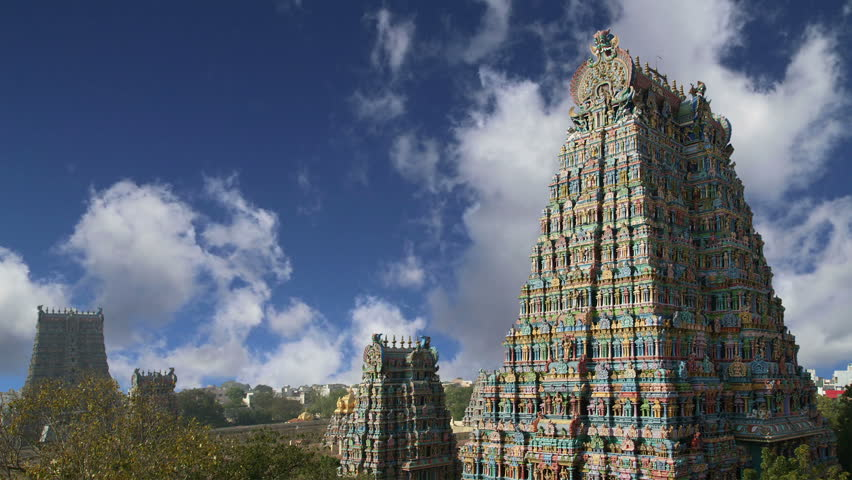MADURAI, TAMIL NADU, INDIA- MARCH 10, 2011: Meenakshi hindu temple in Madurai, Tamil Nadu, South India   - HD stock footage clip