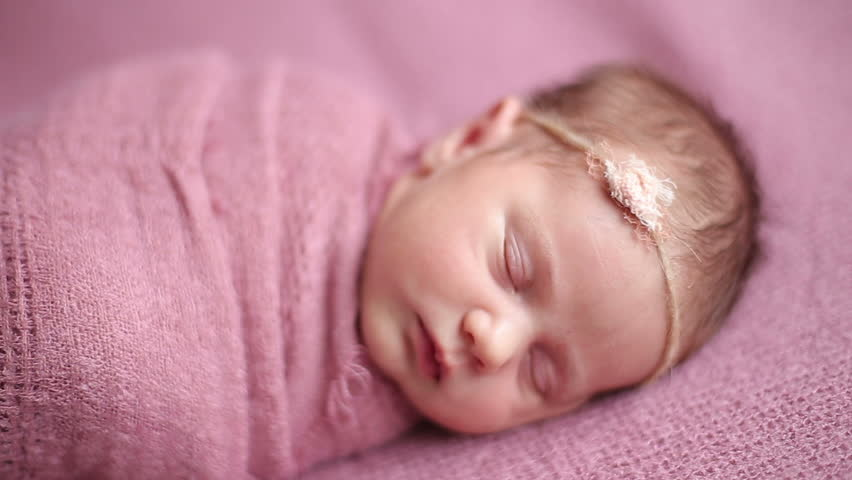 Cute Newborn Baby Girl Sleeping Stock Footage Video ...