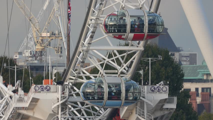 October 2015 London Eye Moving Cabin Closeup From Westminster Bridge - 4K stock video clip