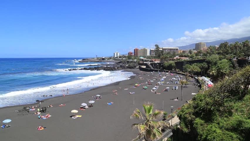 Playa jardin puerto de la cruz tenerife spain stock - Playa jardin puerto de la cruz tenerife ...