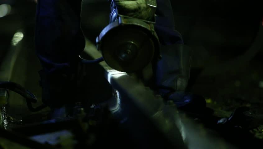 Grinding metal rails - HD stock footage clip
