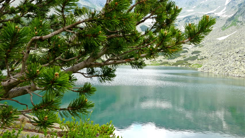 Breathtaking view of a lake in the Pirin mountain, Bulgaria, dolly - 4K stock video clip