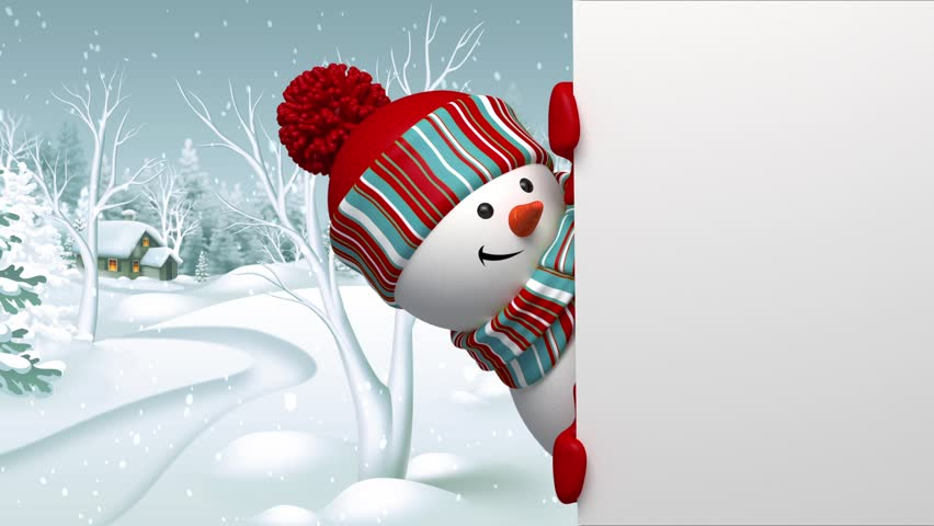 Funny 3d Snowman Looking Out The Round Window, Christmas Holiday Background, ...