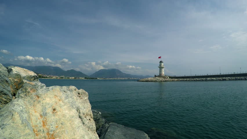 Lighthouse in port Alanya, Turkey - 4K stock footage clip