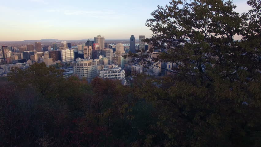 4K aerial drone shot of montreal skyline at sunet up move | Shutterstock HD Video #12731357