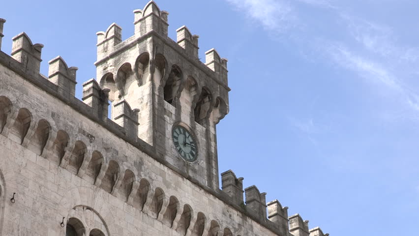 Side view of the clock tower of the court of Chiavari