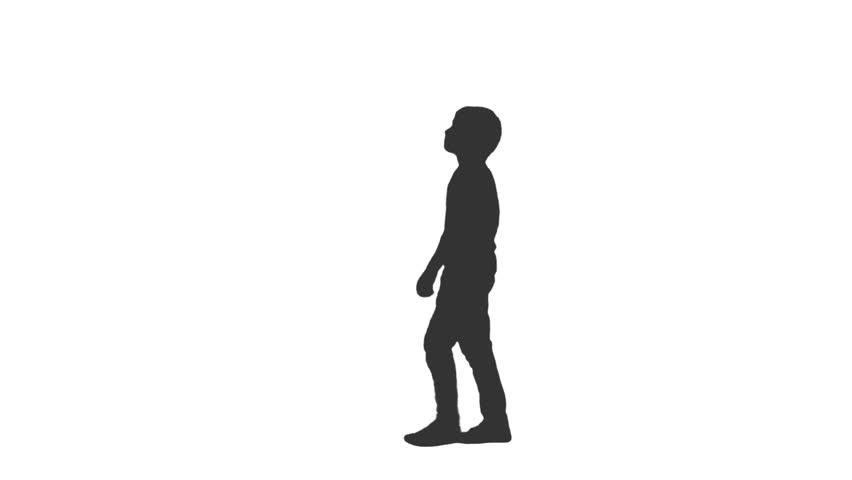 silhouette of little boy walking around amp watching