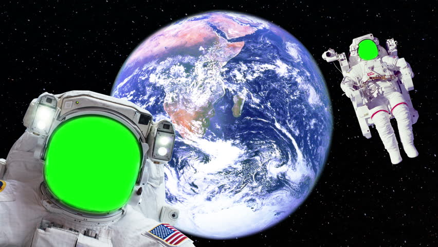 Two astronaut spacewalk green screen face by bright earth for Outer space elements