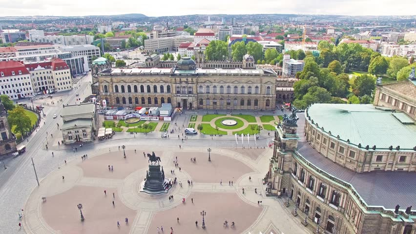 Theatre Square (Theaterplatz) in the historic center of Dresden,to the right-Katholische Hofkirche. Saxony, Germany. | Shutterstock HD Video #12839204