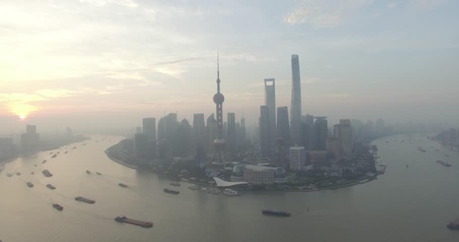 Beautiful aerial view of Lujiazui peninsula in Shanghai city. | Shutterstock HD Video #12845396