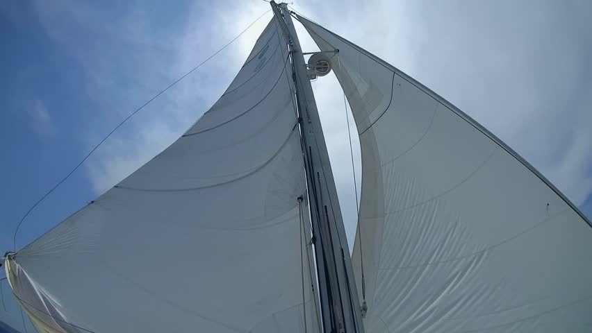 Sail of Yacht against the sky.  - HD stock footage clip
