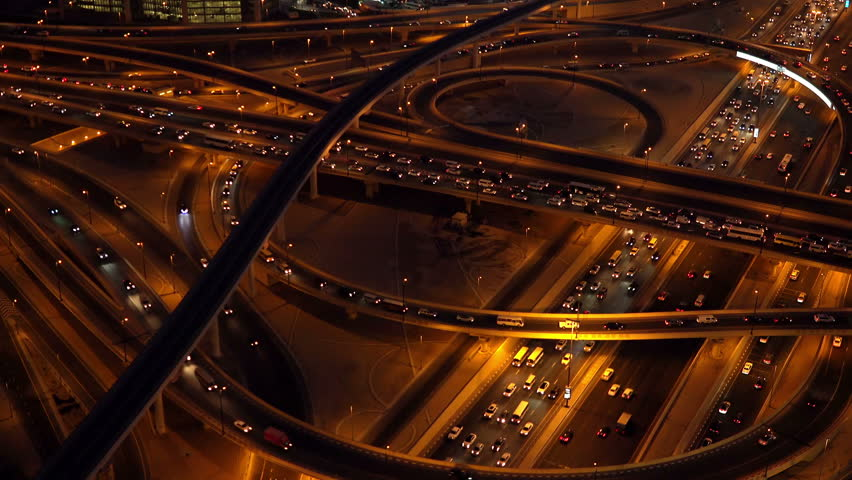 4K Time Lapse of Road Traffic Highway at Night. 4K Ultra HD 3840x2160 Video Clip