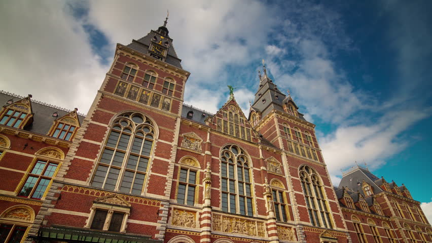 Amsterdam summer tourist famous national museum 4k time lapse netherlands | Shutterstock HD Video #12884024