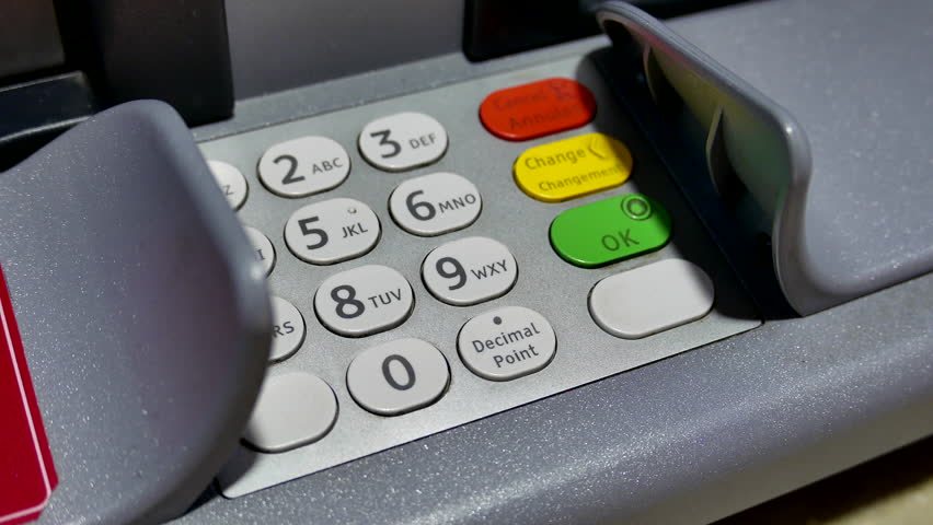 Close up woman pressing password at ATM machine with 4k resolution