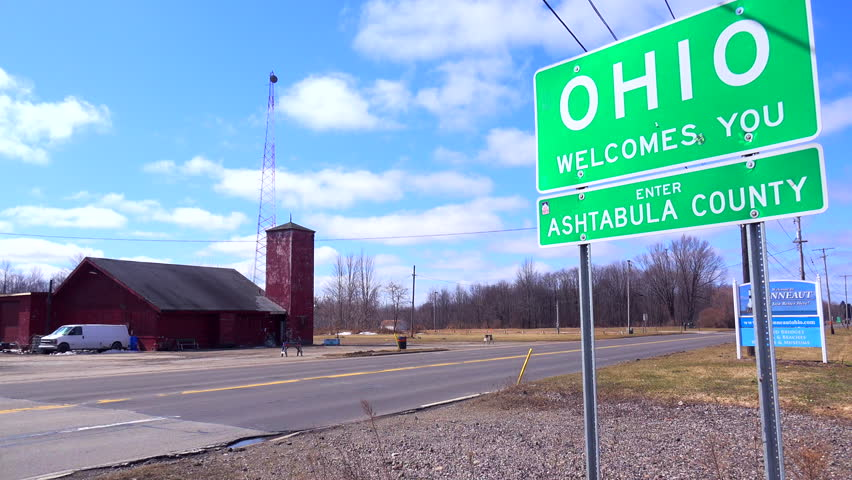 OHIO - CIRCA 2015 - A sign welcomes visitors to Ohio. - 4K stock footage clip