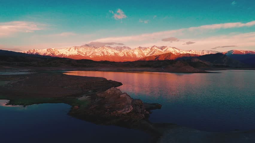 Los Andes with a lake, Chile and Argentina