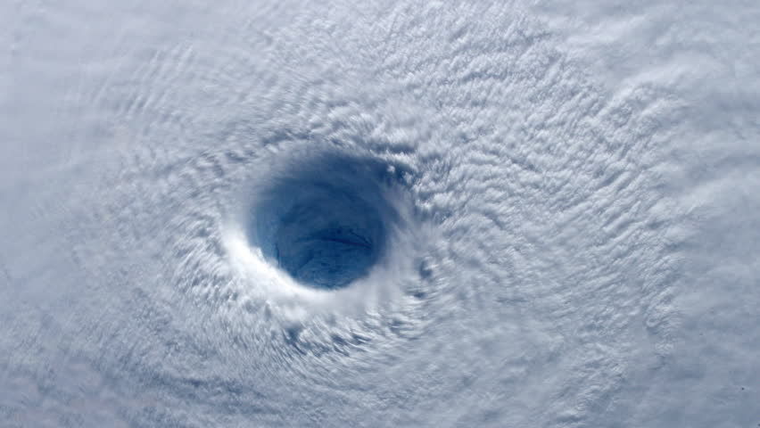 4K-Eye of Hurricane from space. Perfect for: hurricane, eye wall, storms, disasters, hurricane hunting, satellites, weather, natural, nature, clouds