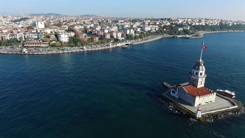 Aerial view of Maiden Tower Istanbul - Turkey - HD stock video clip