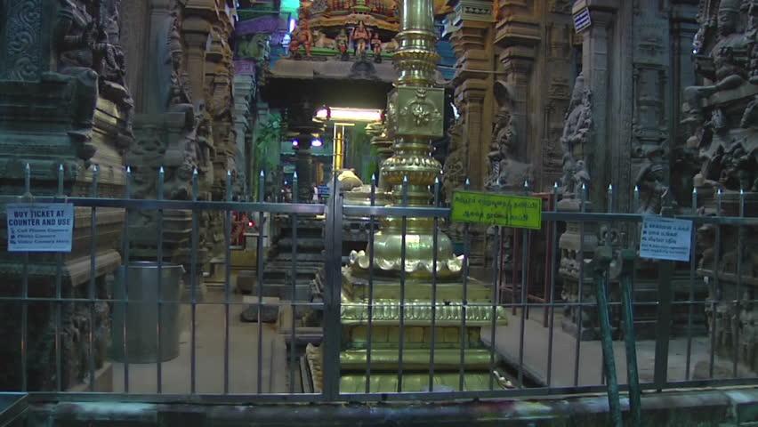 Interior of  Meenakshi Temple in Madurai, India - HD stock footage clip