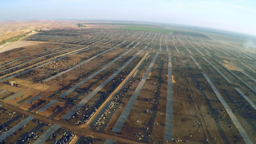 CALIFORNIA - CIRCA 2015 - Aerial over a vast cattle ranch and slaughterhouse in Central California.