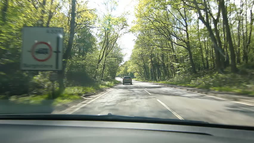Driving through sunlit forest in the UK. Flickering light.